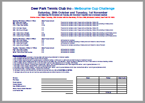 2016 Melbourne Cup Challenge Entry Form