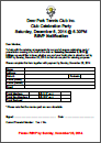 2014 Club Celebration Party RSVP Form